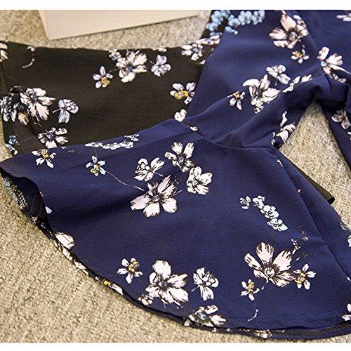 Scothen Casual de las señoras manga larga blusa de verano floral de la gasa de la camisa de vestir de manga larga Tops mini vestido con cuello en V Kariete camisa mini vestido camisa casual Blue
