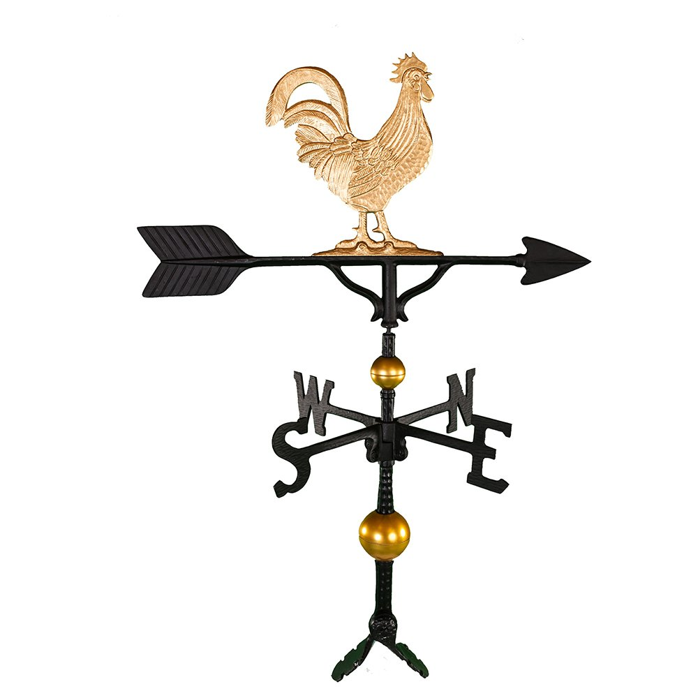 Montague Metal Products 32-Inch Deluxe Weathervane with Gold Rooster Ornament