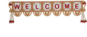 "Small Welcome Sign board Wall Decor Hanging Diwali Decorations Rangoli for Main front Door Indoor Outdoor Patio Garden Yard Sign Porch Decoration & Christmas New Year Gift / Party. Size:- 15""X3"""