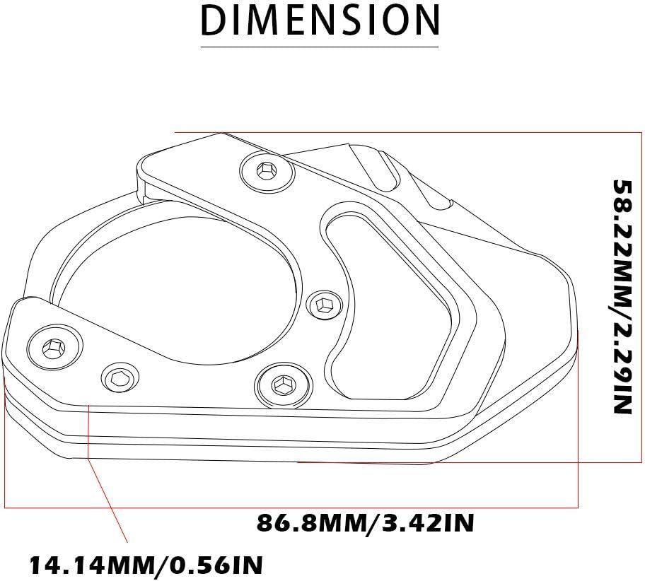 Motorbike CNC Aluminum Side Stand Extender Enlarger Kickstand for K-T-M DUKE 125 200 250 390 690//RC 125 200 250 390//950 Adventure S//990 Adventure R S//690 Enduro R SMC-Black+Grey
