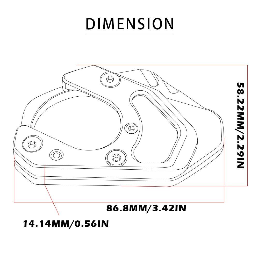 Motocicleta CNC Aluminio Costado Soporte Lateral Ampliar para KTM Duke 125 200 250 390 690// RC 125 200 250 390// KTM 950 Adventure S//KTM 990 Adventure R S//KTM 690 Enduro R SMC-Negro+Gris