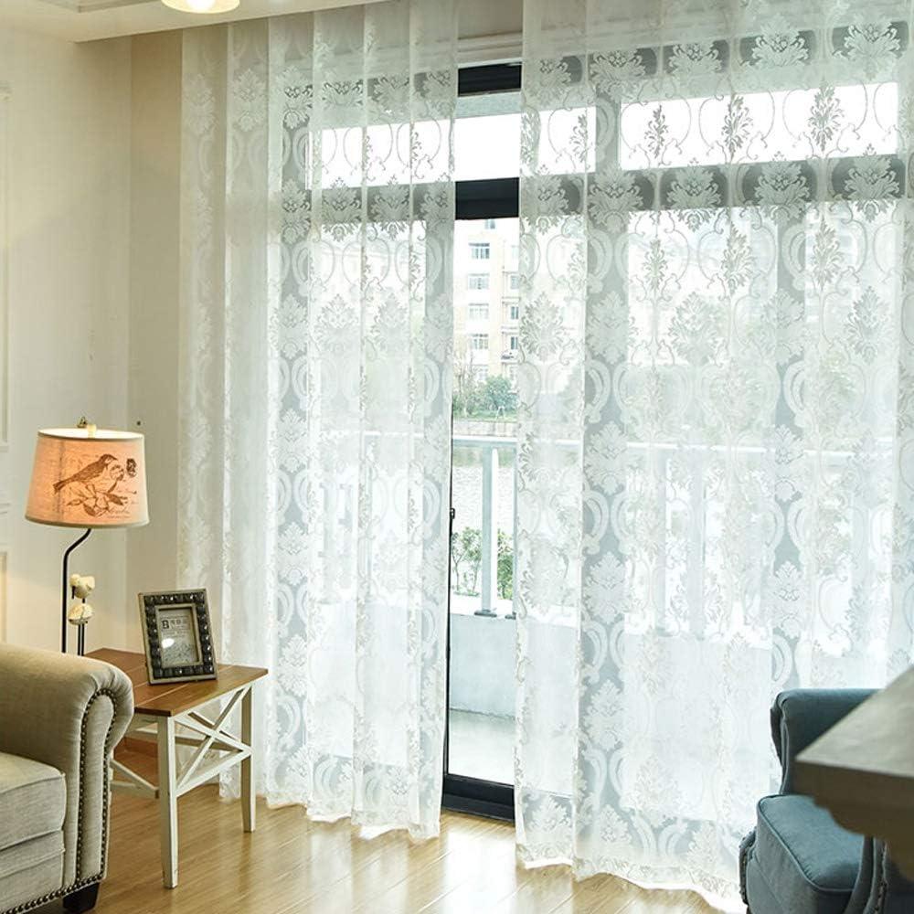 Amazon.de YangD Gardinen Wohnzimmer Modern mit Ösen, Voile ...