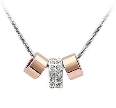 042e6a77148 Quadiva E!Collier avec pendentif tendance à 3 anneaux pour femme (couleurs    or
