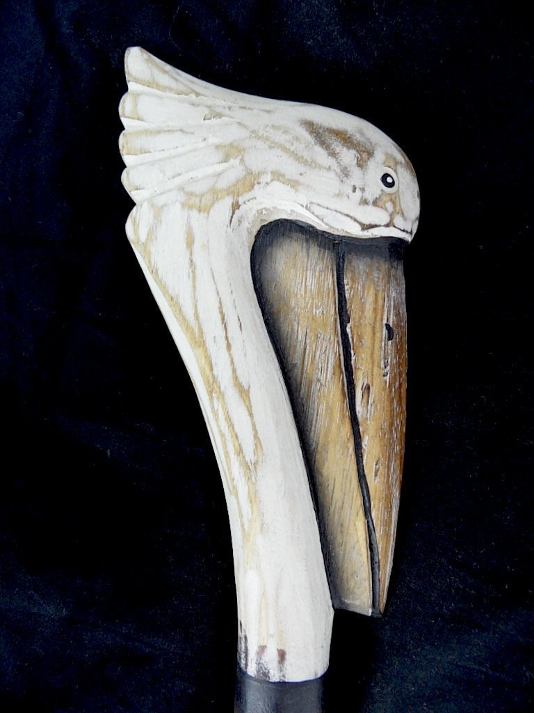 HAND CARVED WOOD PELICAN SEA OCEAN BIRD WALKING STICK CANE ART WHIMSICAL TROPICAL SAFARI