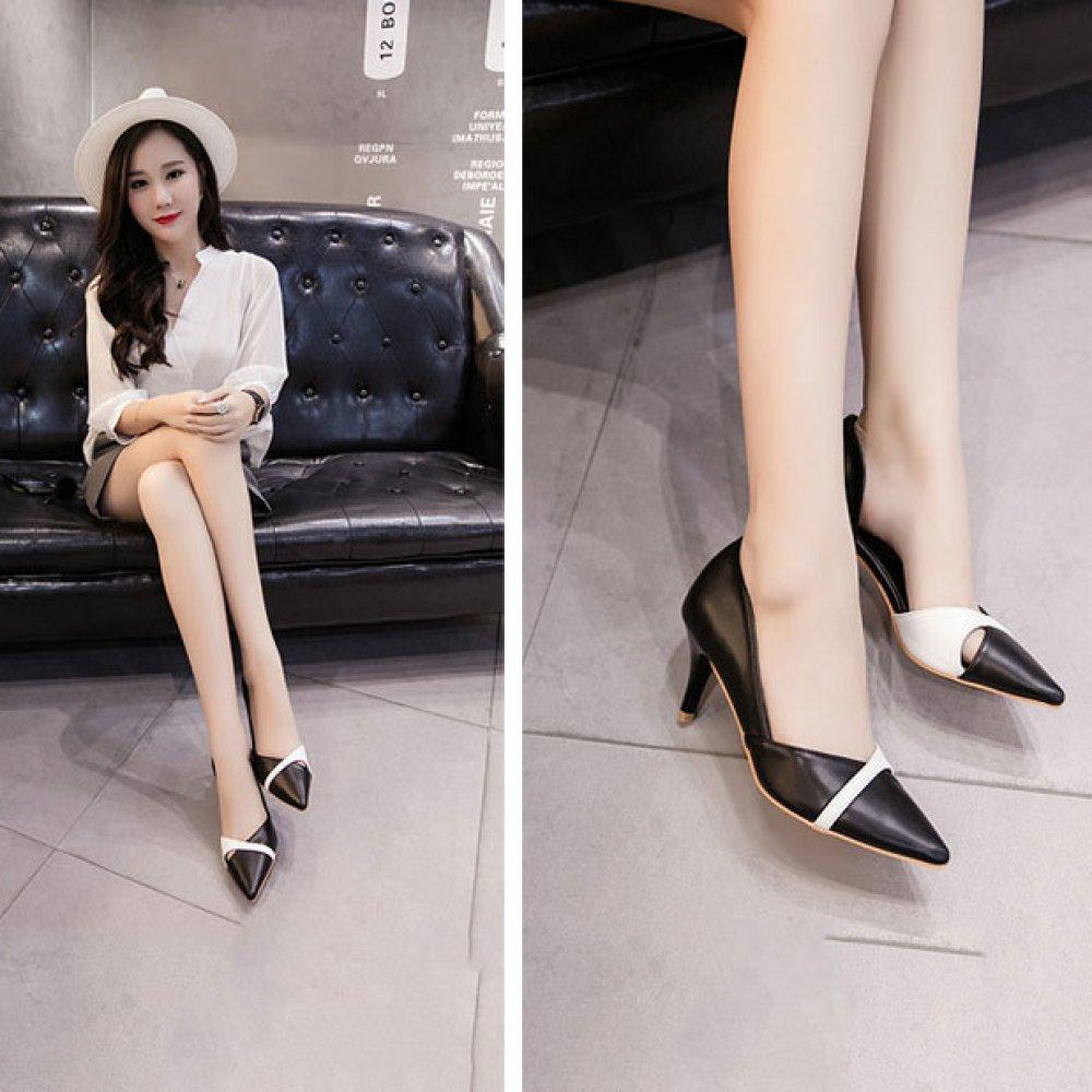 Frauen Mode Spitzen High Heels Mode Frauen Colourblocking Elegante Pendler-Seitenschuhe schwarz 9e9d91