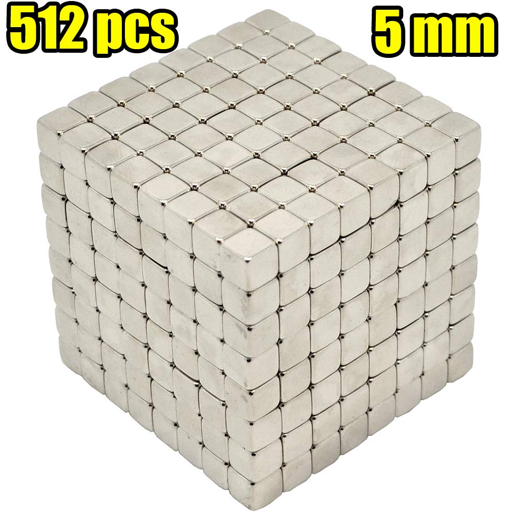 MENGDUO 512pcs 5mm Magnetic Cube Magnets Sculpture Building Blocks Toys for Intelligence Learning -Office Toy & Stress Relief for Adults (Cube)