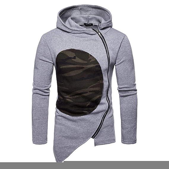 Sudadera para Hombre, Beikoard 2018 Sudadera Casual con Capucha, Hombres De Camuflaje Patchwork Cremallera Abrigo Chaqueta De Manga Larga Outwear Blusa: ...