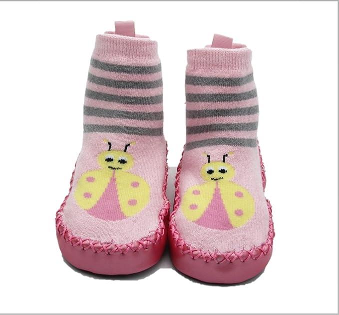Playette Leather Sole Slipper Socks Pink 9 12m Amazon In