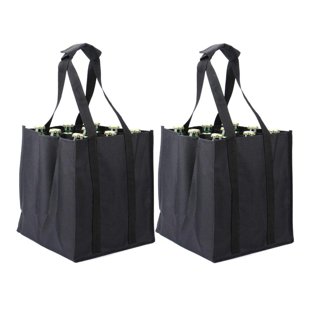 Tebery, 2 per sacchetti porta bottiglie, capienza: 9 bottiglie per sacchetto, nero, 26 x 26 x 28 cm