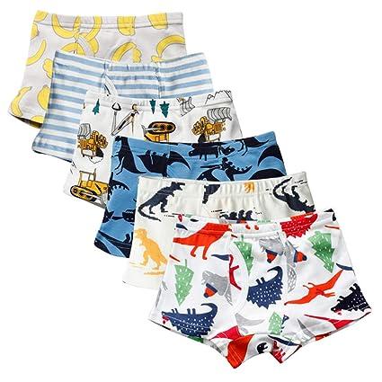 Kidear Serie Für Kinder Weiche Baumwollene Unterwäsche Sortierte Boxershorts Kleiner Jungen (Packung mit 6 Stücken)