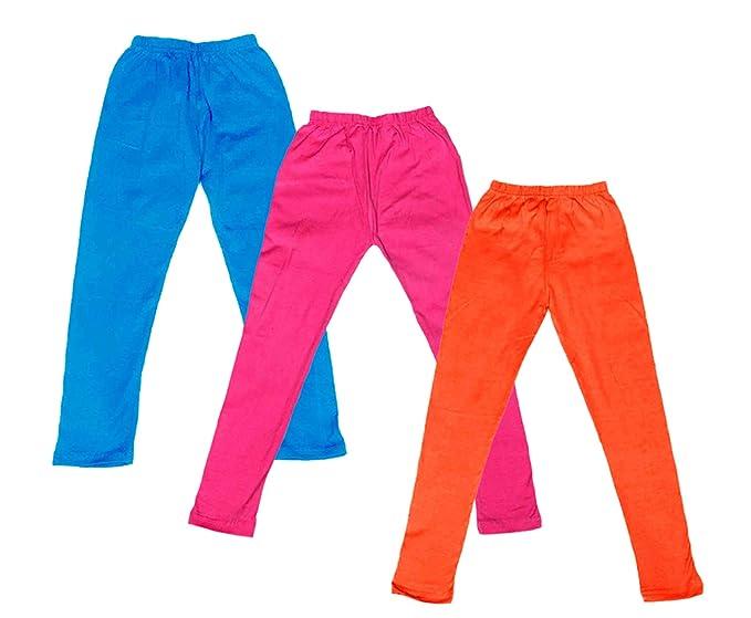 Pack of 2 IndiStar Girls Super Soft Cotton Full Ankle Length Leggings