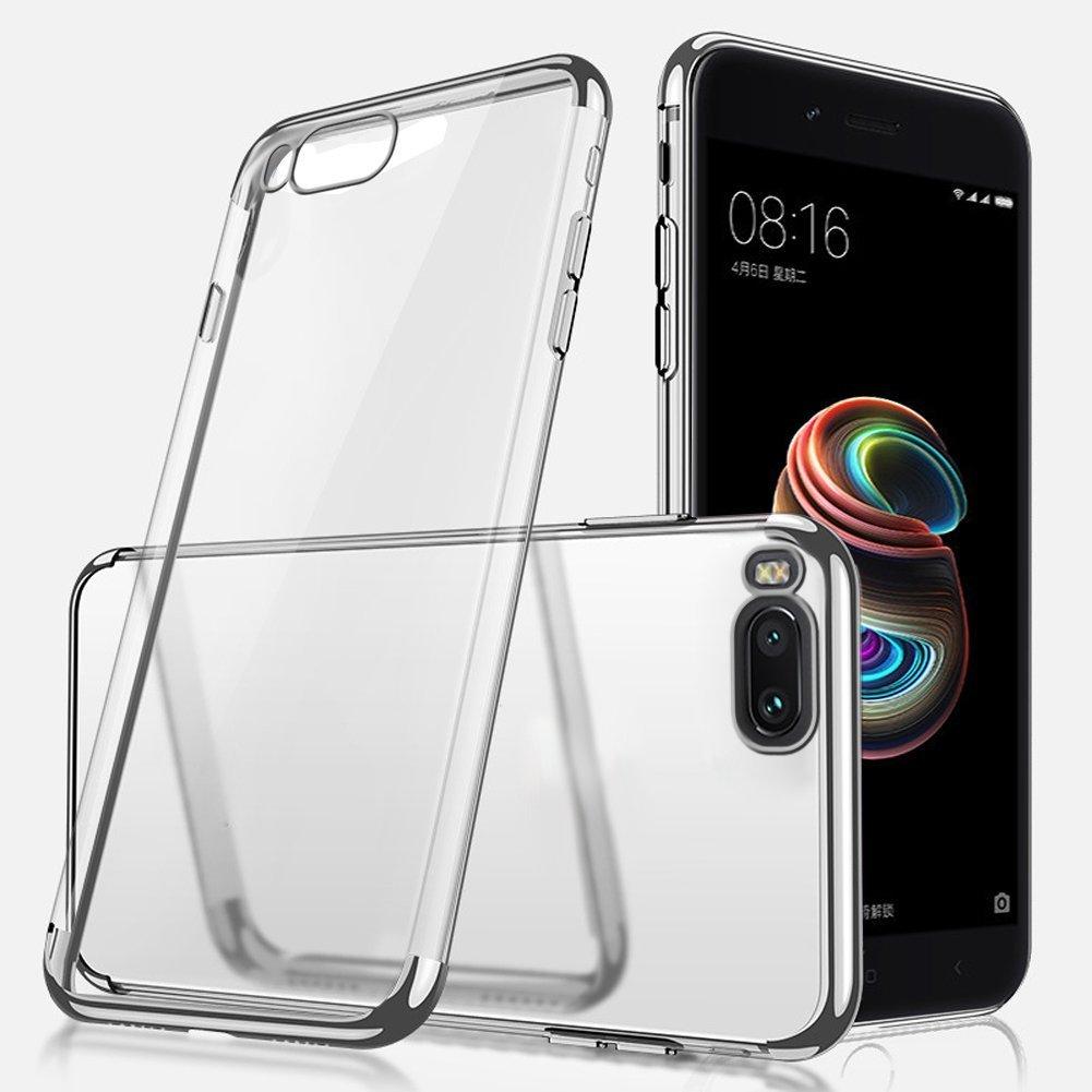 Cover Xiaomi 5X Custodia,Uposao Placcatura TPU Mobile Shell Ultra Sottile Slim Cristallo Chiaro Crystal Clear Trasparente TPU Protettivo Case Caso Custodia per Xiaomi 5X-(nero)