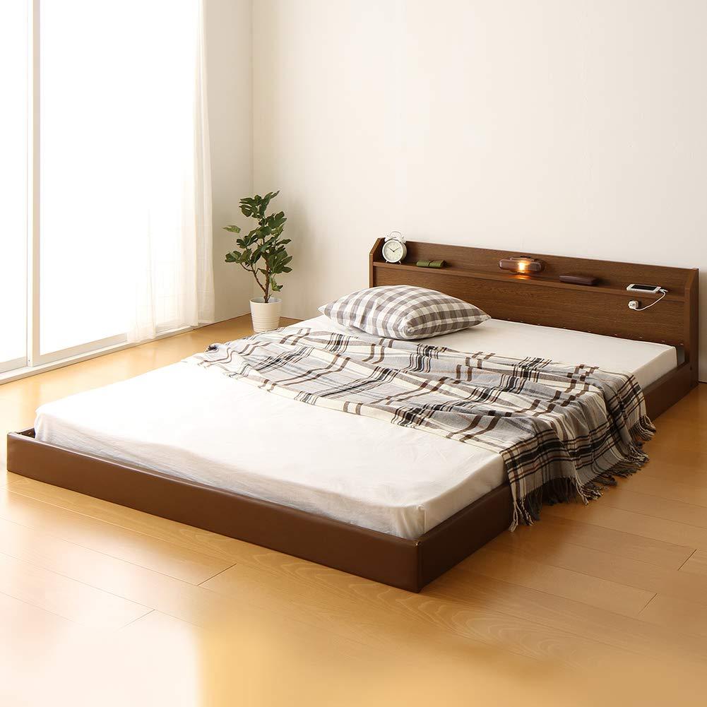日本製 連結ベッド 照明付き フロアベッド ワイドキングサイズ210cm(SS+SD) (ポケットコイルマットレス付き) 『Tonarine』トナリネ ブラウン B07931TDWL