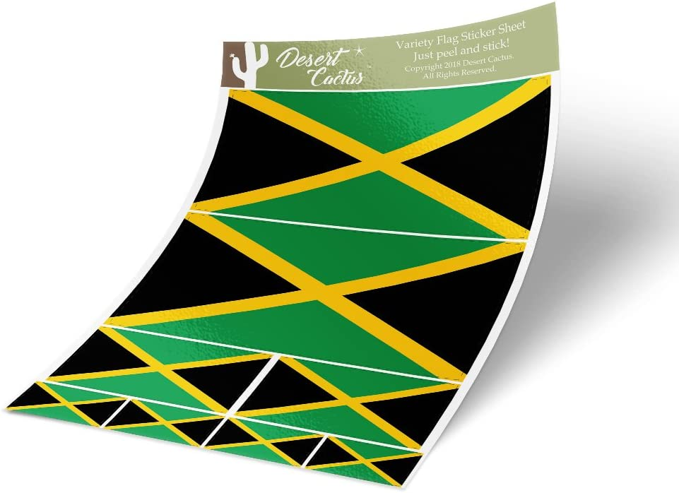 Jamaica Country Flag Sticker Decal Variety Size Pack 8 Total Pieces Kids Logo Scrapbook Car Vinyl Window Bumper Laptop Jamaican V