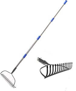 HORSE SECRET Bow Rake-6 FT Heavy Duty Raker with Rubber Grip Handle for Gather Fallen Leaves Yard Lawn and Garden