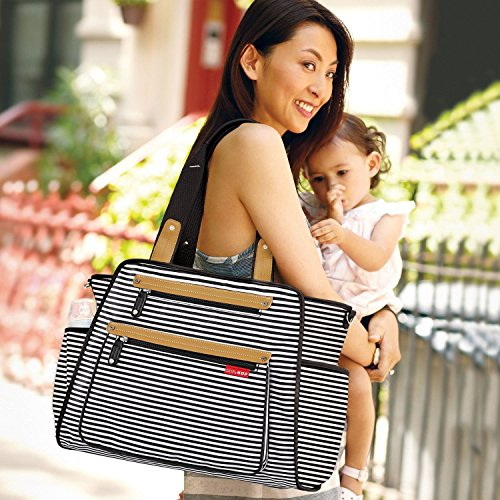 Skip Hop Diaper Bag Tote with Matching Changing Pad, Grand Central, Black & White Stripe by Skip Hop (Image #7)