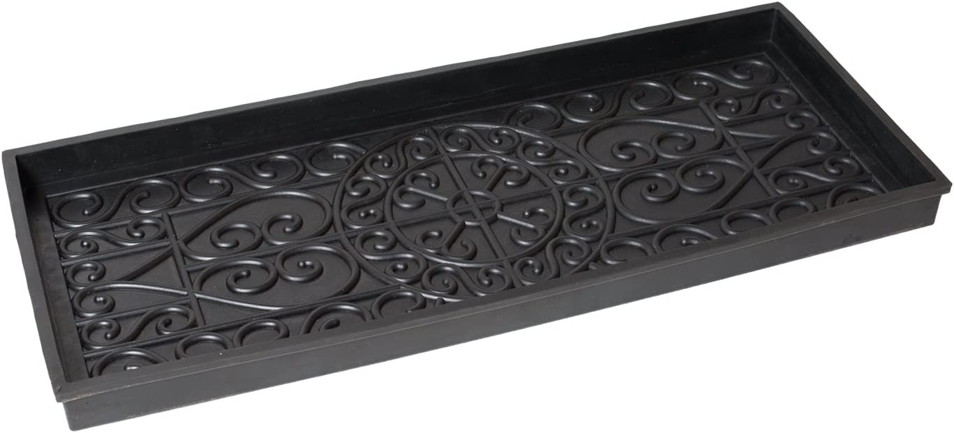 BirdRock Home Rubber Boot Tray – 34 inch Decorative Boot Tray for Entryway Shoe Mat Waterproof – All Weather Indoor or Outdoor Use Dog Water Food Bowl Wide Trays Under Sink Drip Utility Tray