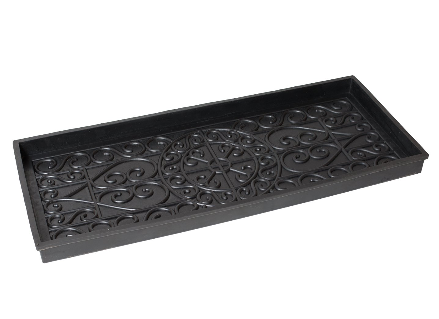 BirdRock Home Rubber Boot Tray - 34 inch Decorative Boot Tray - Waterproof for All Weather Indoor or Outdoor Use - Dog Bowl Tray