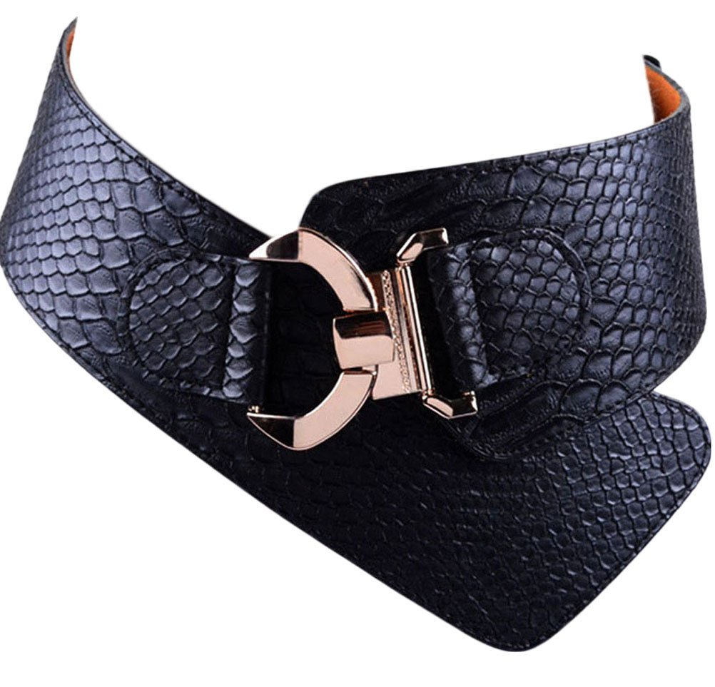 Women Girls 3 Size Leather Belt Fashion Textured Solid Color PU Leather Wide Waist Band Elastic Stretch Belts (M, black)