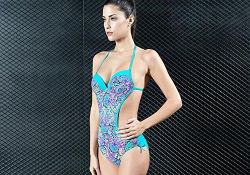 Impresion Floral De Las Mujeres Empuje Para Arriba El Bikini Backless Swimwear Swimsuit One Piece Blue