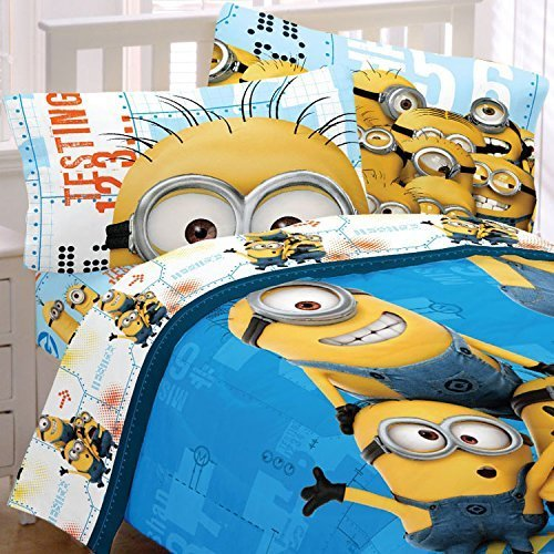 Despicable Me Full Bedding Set Minions Testing 123 Comforter and Sheets by Franco Manufacturing Company INC