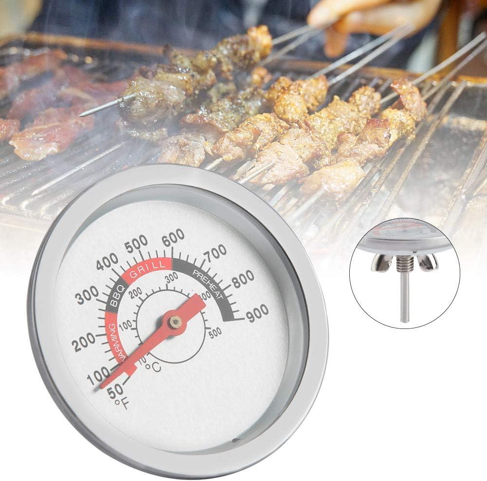 Qinlorgo Medidor de termómetro de Barbacoa, Barbacoa de Acero Inoxidable Parrilla de ahumador de Barbacoa Termómetro de Temperatura 50-900 ℉