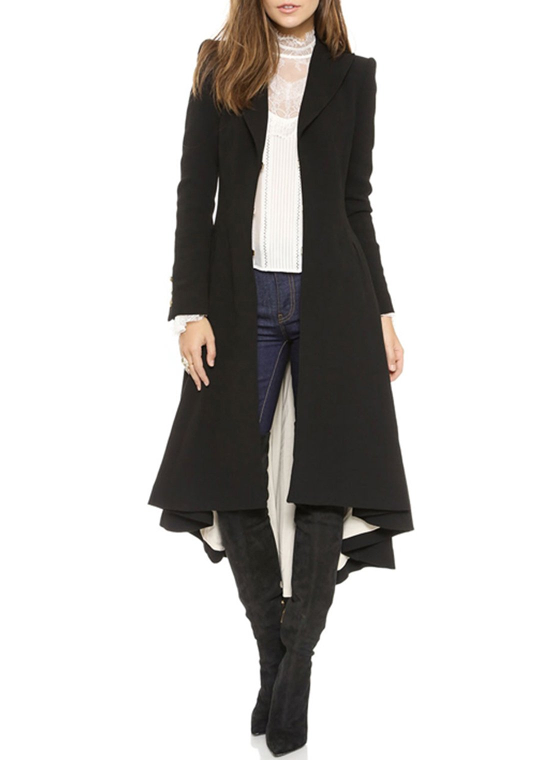 RICHKOKO Women Asymmetrical High Low V Neck Ruffle Button Long Coat(XL,Black)