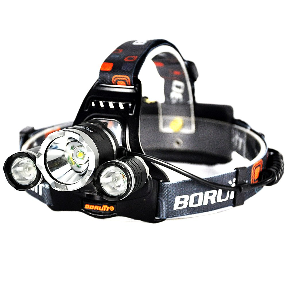 Rechargeable Headlamp Super Bright LED Head Torch 6000 Lumens Waterproof Headlight with 4 Brightness Modes Perfect for Running, Camping, Hiking and Walking