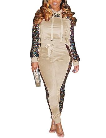 bb3d9a3e3839 Women's Velour Sweatsuit Set Sequin 2 Piece Outfit Long Sleeve Hoodie and  Pants Suit Tracksuit Beige
