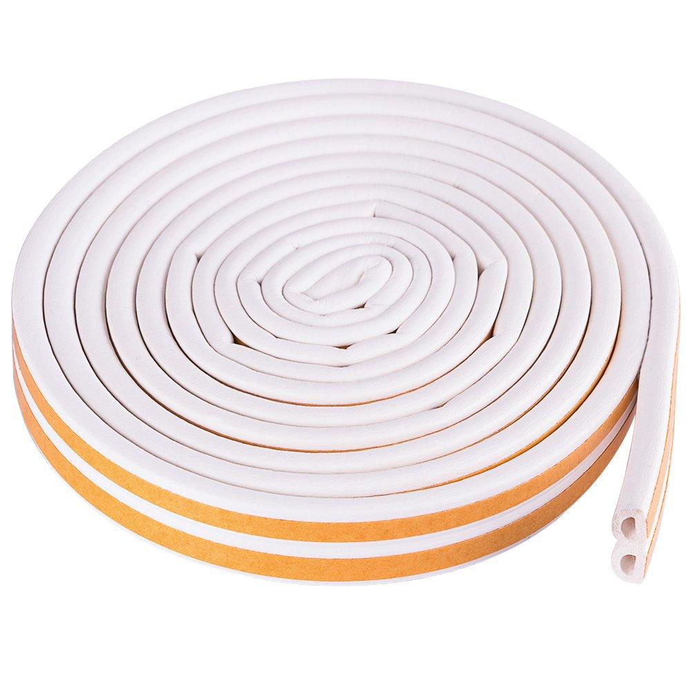 Junta de Goma Adhesiva Para Ventana y Sellar para Aislar Ventanas de Aluminio y Madera de Las Corrientes de Aire 10m Doble D Divisible Apta para Espacio de 4-5 mm Entre Marco y Ventana,Blanco
