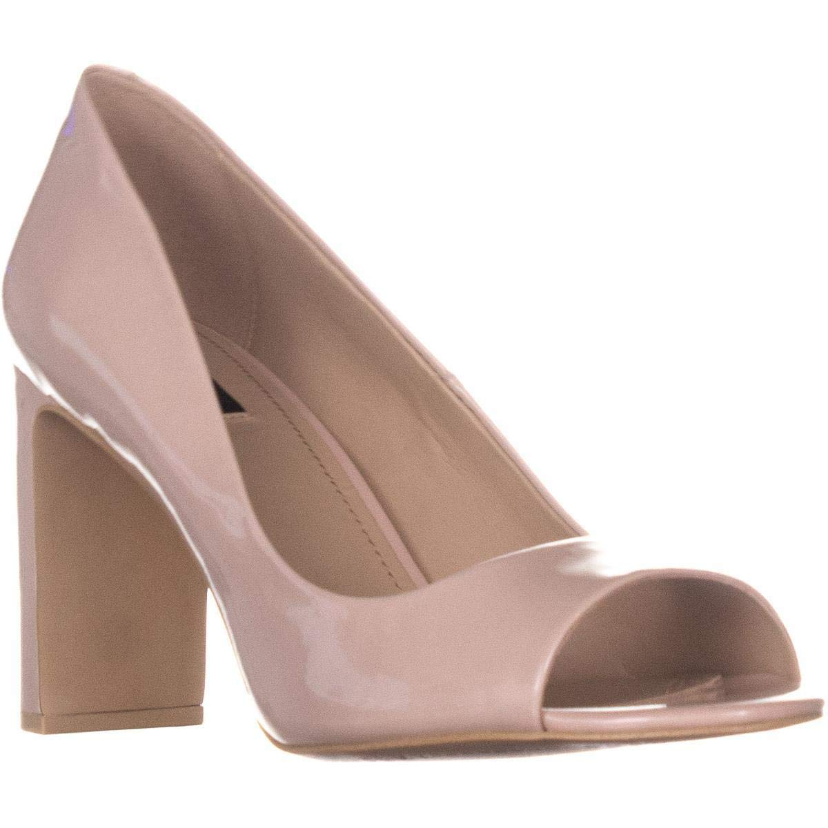 Pinky Patent Leather DKNY Jade Peep Toe Heels, White