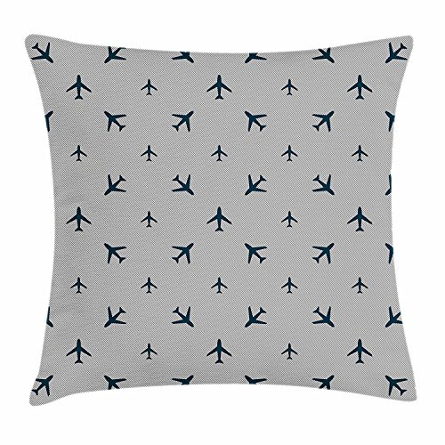Diagonal Accent - Airplane Throw Pillow Cushion Cover, Diagonal Stripes with Blue Travel Icons Silhouettes Vacation Aviation, Decorative Square Accent Pillow Case, 18 X 18 Inches, Petrol Blue Black White