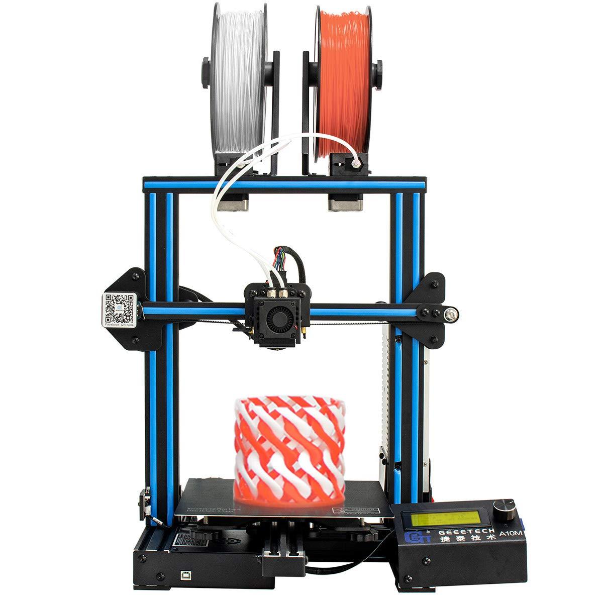 Geeetech A10M Impresora 3d con Mix de color de impresión, Dual de extruder de diseño, Filamento Detector de metales y Break de resuming de función, ...