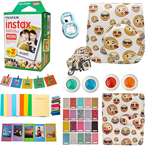 Fujifilm Instax Mini Instant Film (Twin Packs 20 Pictures) + Case, Selfie Lens, Colored Filters, Frames, Stickers and More Accessories Bundle for Mini 9 8 Camera (Emoji)