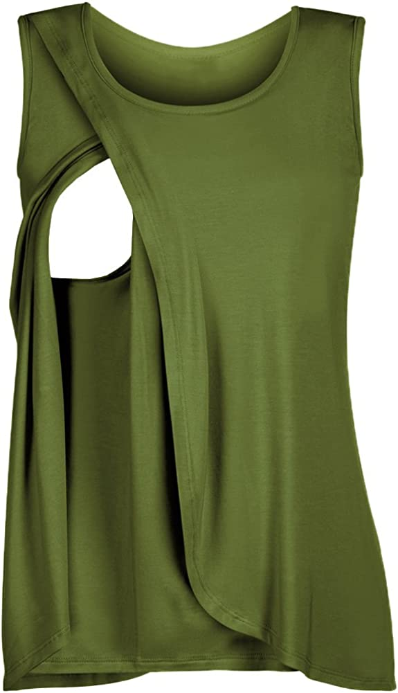 Sysea Womens Maternity Nursing Tank Tops Breastfeeding Sleeveless Pregnancy T-Shirts