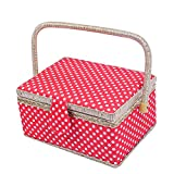 Great gifts for girls and ladies  Our fabric wooden sewing basket kit is perfect for everyday sewing and mending. Sewing basket measures at 9.4¡± x 6.9¡± x 5.9¡±. It comes with a removable tray including the complete set of sewing kit! Why yo...
