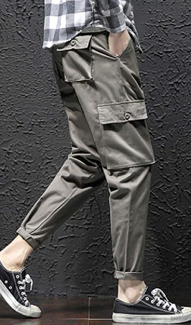 Fubotevic Mens Casual Mid Rise Straight Leg Multi Pockets Solid Color Cargo Pants Trousers
