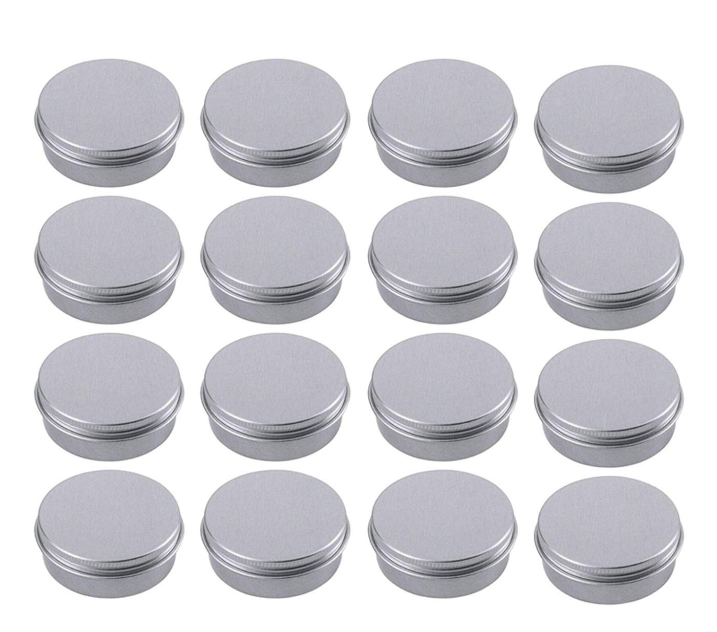 Healthcom 21-Pack 2 Oz/60ml Round Aluminum Tin Cans Screw Top Metal Lid Tins Makeup Cream Lip Balm Jars Empty Cosmetic Storage Sample Container Boxes Organization Kit for Lip Balm Salve Crafts Spice Candles Tea Gifts,Silver