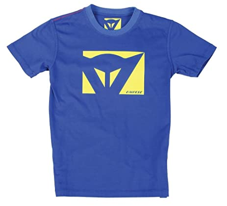 Dainese Color New Kids/Childrens/Youth T-Shirt Blue/Fluo Yellow Junior