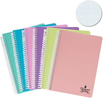 Quijote Paper World Pack de 6 Cuaderno Espirales, Con Cuadrícula ...