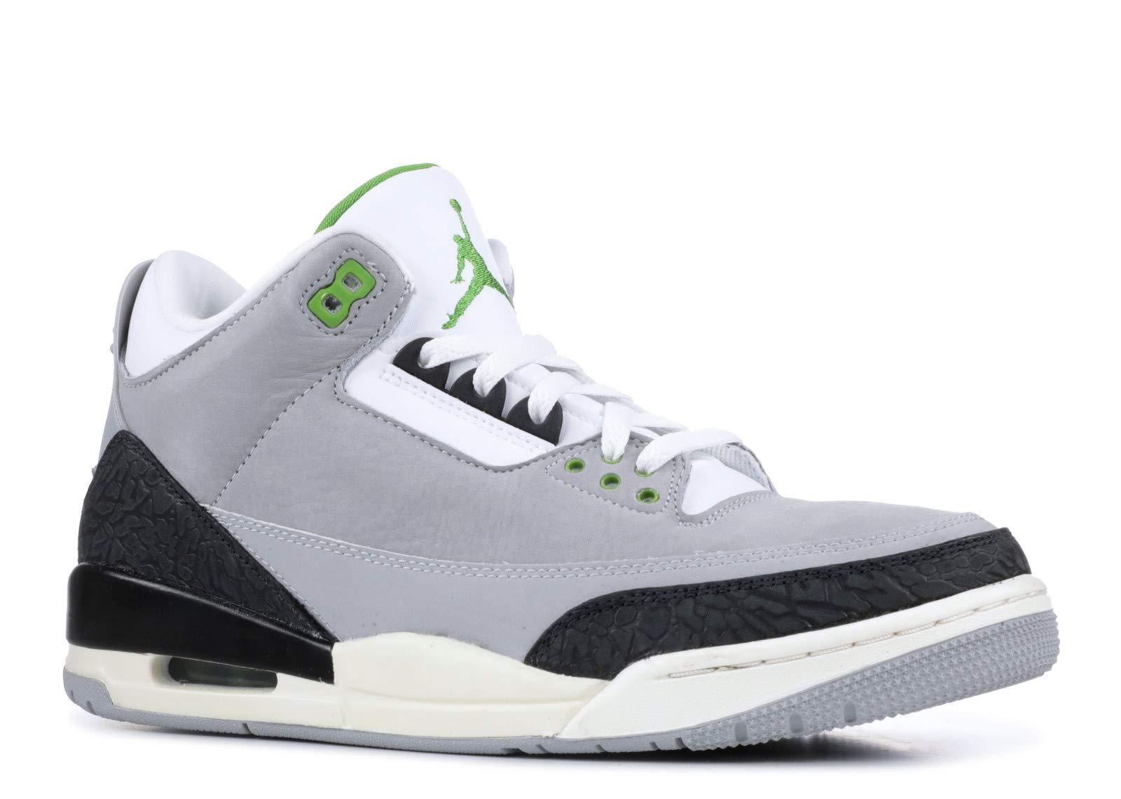 classic fit ae8fc fadd6 Galleon - Jordan 136064-006  Mens Air 3 Retro Tinker Light Grey Chlorophyll Black  Sneakers (10 D(M) US Men)