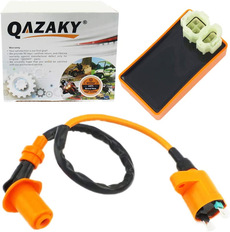QAZAKY Performance Ignition Coil + AC 6 Pins CDI Box Replacement for CRF50 XR50 XR70 XR80 XR100 Pit Dirt Racing Bike Motorcycle ATV Quad Scooter Go Kart Moped