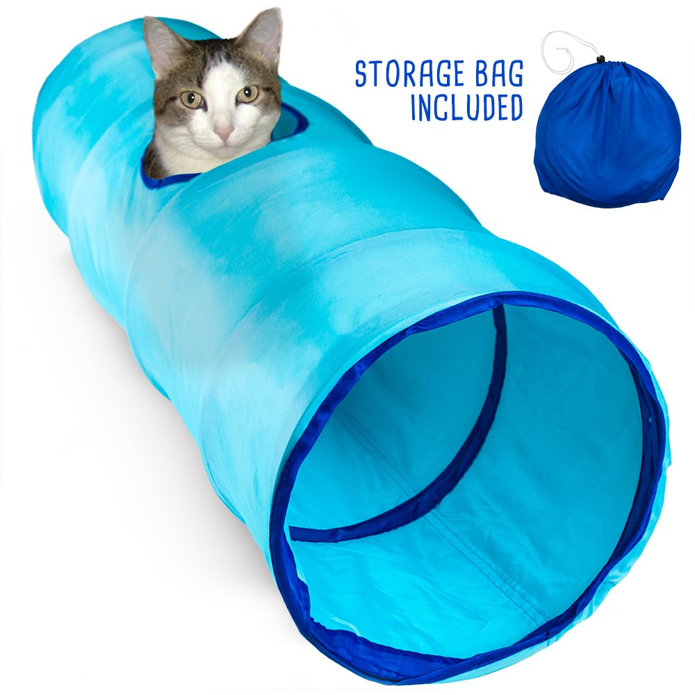Weebo Pets Krinkle Collapsible Cat Tunnel with Peek Hole and Storage Bag by (52'', Blue)