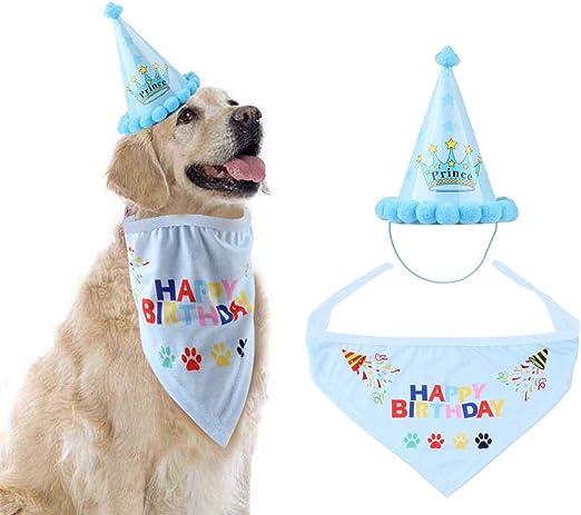 HOSOTO Pañuelos de cumpleaños para Perros y Gatos, para Fiesta de ...