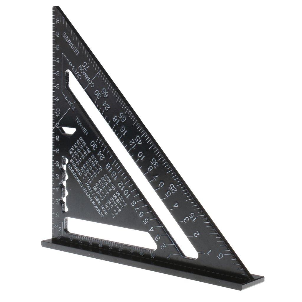 MagiDeal 18.5cm 7 Regla De Tri/ángulo De Aleaci/ón M/étrica Herramienta De Medici/ón Cuadrada Transportador De /ángulos