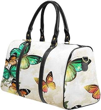 InterestPrint Waterproof Travel Bag Sports Duffel Tote Overnight Bag Beautiful Watercolor Butterfly