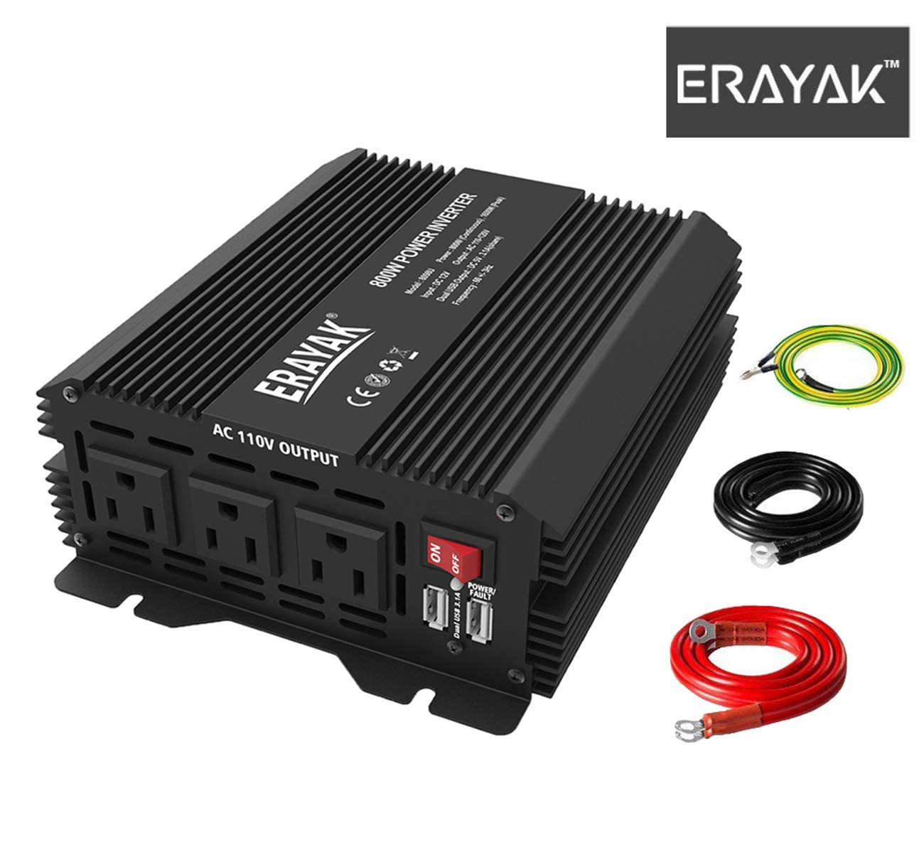 ERAYAK 800W Power Inverter DC 12V to 110V AC with 3 AC Outlets Dual USB Ports Car Converter Charger for Home Office Travel RV Car Camping