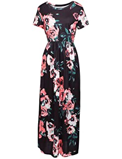 5ee0be5f764 PARTY LADY Women s Casual Floral Printed Short Full Sleeve Maxi Long Dress  with Pockets(