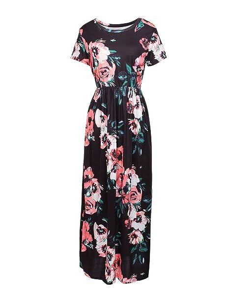 60a3bb0de227f DANALA Women Summer Boho Floral Print Short Sleeve Maxi Retro Vintage Long  Party Dress Black Size L at Amazon Women's Clothing store: