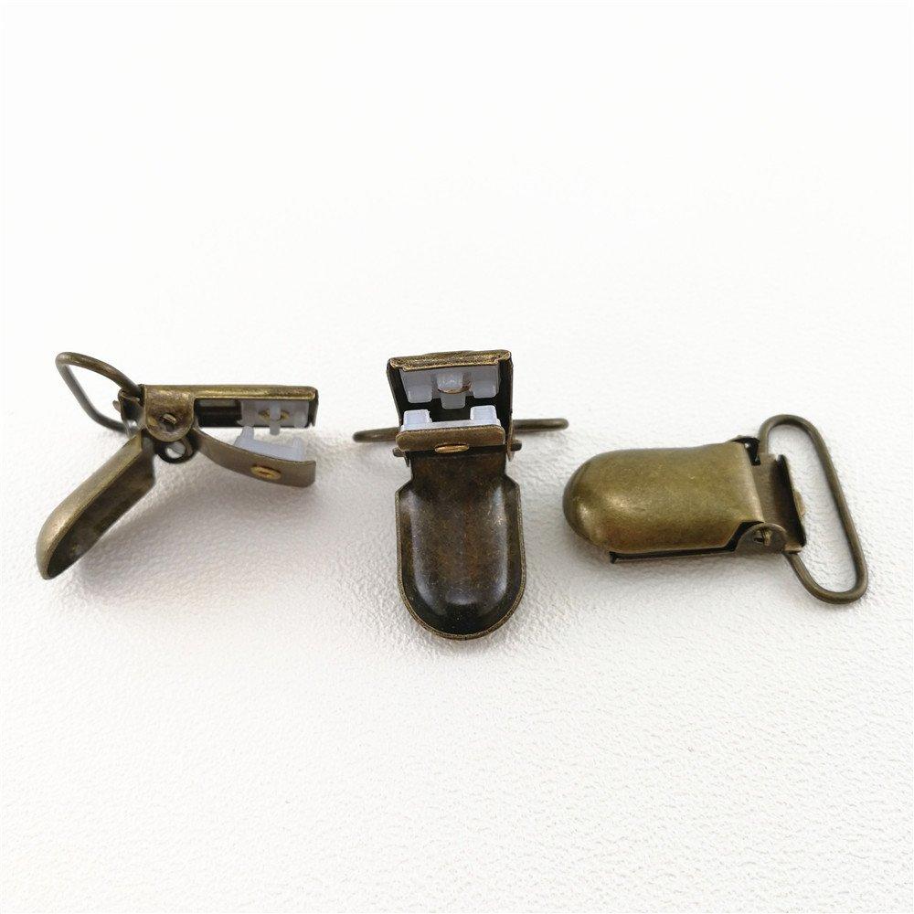 1 inch Pacifier Suspender Clips JerryMart 25pcs 25mm Pacifier Clips for Making Pacifier Holders Bib Clips Toy Holder Color: Antique Brass
